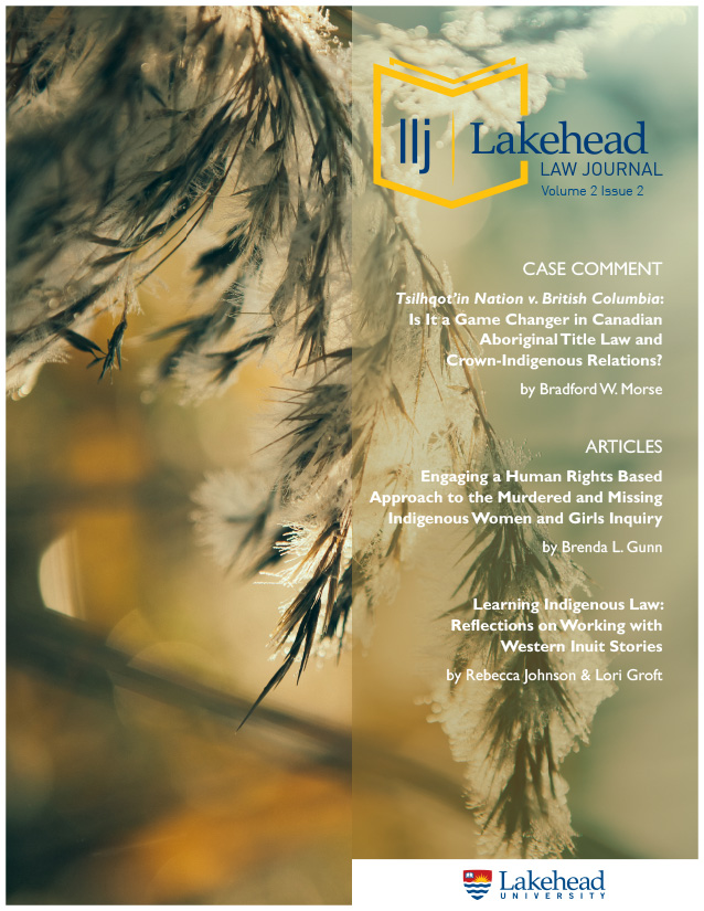 Cover page of the first issue of Lakehead Law Journal