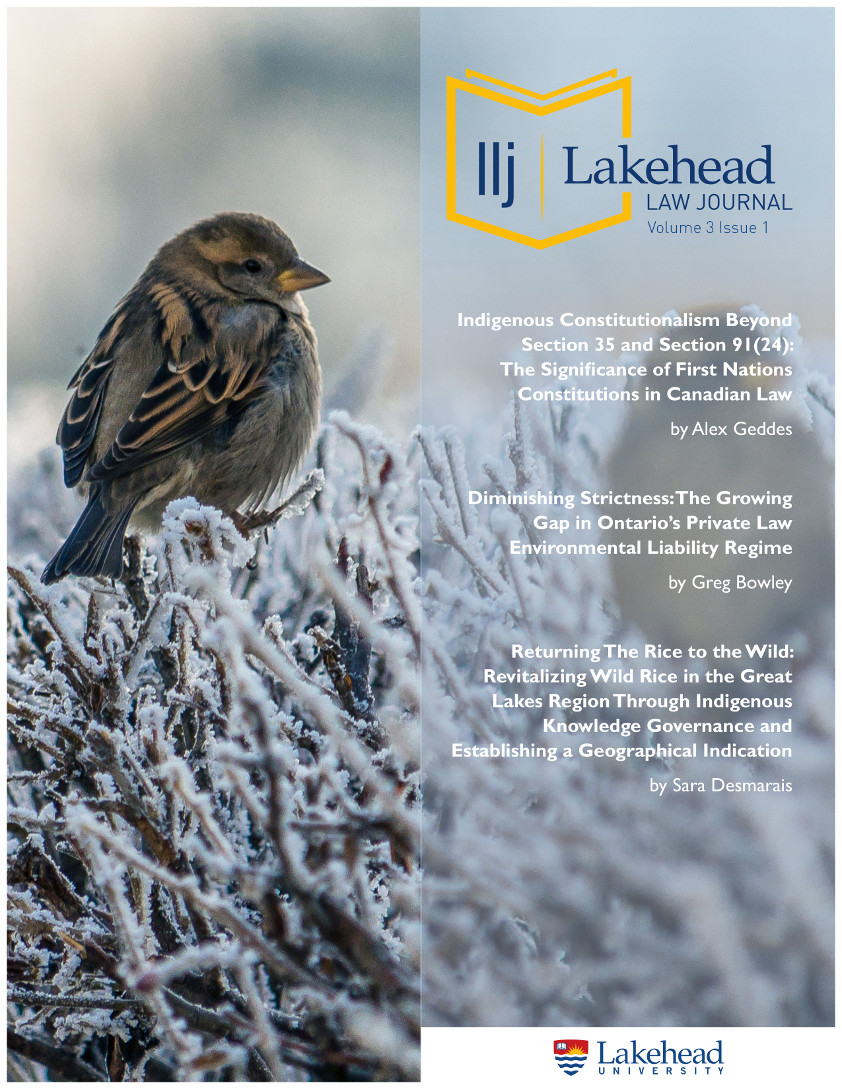 Cover page of Lakehead Law Journal