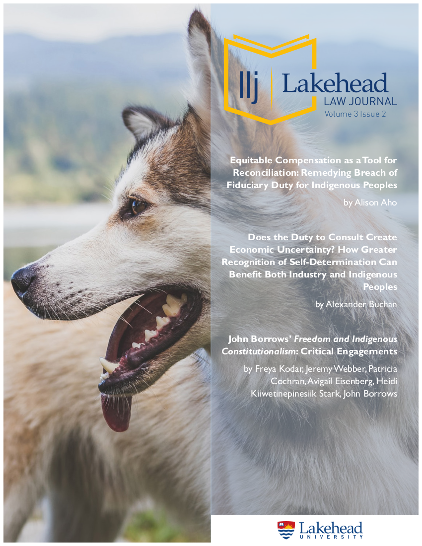 Cover page of Lakehead Law Journal Vol. 3 Issue 2