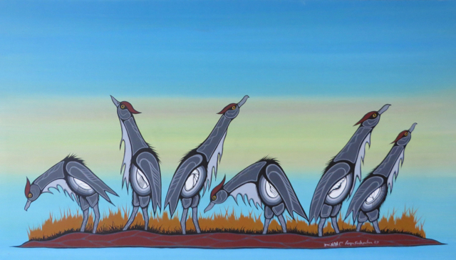 Roger Kakepetum, Sandy Lake First Nation, Ontario (acrylic on canvas). From the Chief Roy Michano collection, owned by Lakehead University.